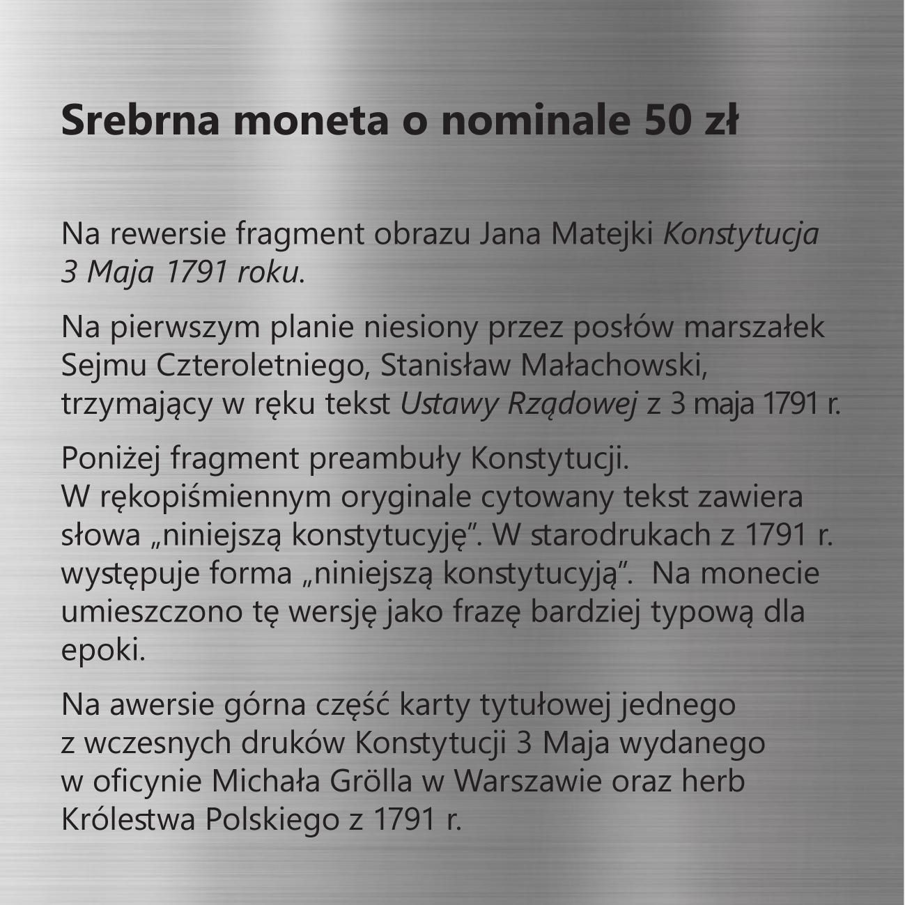 230. rocznica Konstytucji 3 Maja – dzieła odrodzonej Rzeczypospolitej, 50 zł, tabliczka
